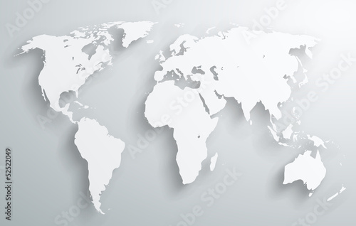 World map design with vector shadows