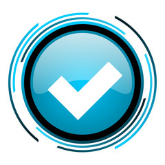 accept blue circle glossy icon