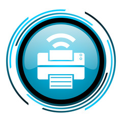print blue circle glossy icon