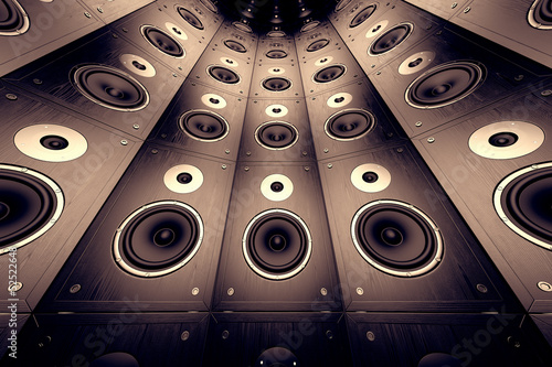 Fototapety, obrazy : Wall of speakers.
