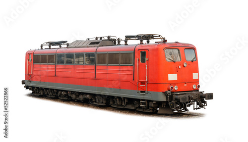 German railways' electric locomotive class 151 isolated on white
