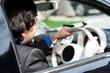 Businessman driving his luxury dream car