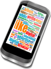 Mobile phones with touchscreen and colorful apps