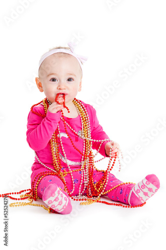 baby girl playing with  beads.  beautiful baby girl.  Happy Baby