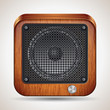 Wooden loudspeaker vector icon