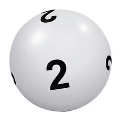 Loto, boule blanche numéro 2