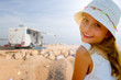 Travel with camper, beauty girl on summer vacation