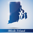 shiny icon in form of Rhode Island state, USA