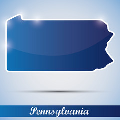 shiny icon in form of Pennsylvania state, USA