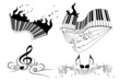 set of music key notes with piano keyboard