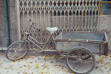 Weathered Bike Parked in Beijing