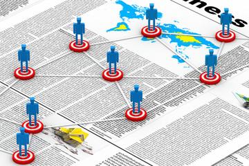 Target Business network. (business news concept).