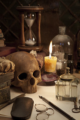 alchemy still life with skull