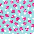 Seamless Pattern Mushrooms Pink/Blue