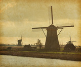Mill Network at Kinderdijk-Elshout, Netherlands. Paper texture.