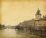 The Seine near the Pont Neuf,  Paris, France. Paper texture.