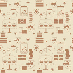 Cute vector seamless pattern of love and sweets