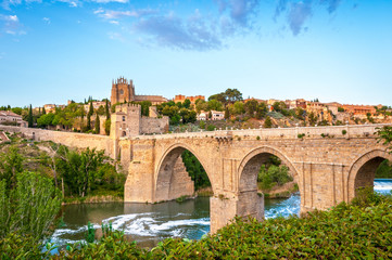 Panorama of famous Toledo bridge in Spain, Europe.