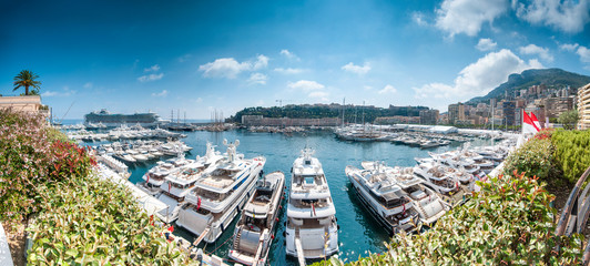 Panorama of Monaco sea port.
