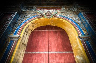 Closed citadel gates to Hue city in Vietnam, Asia.