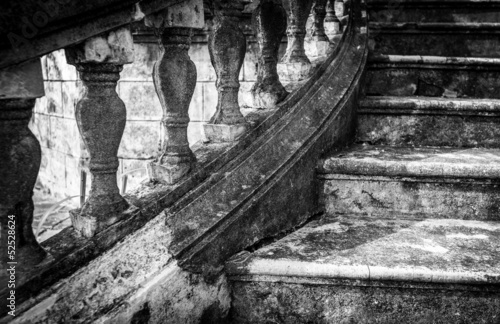 Massive old staircase with beautiful details. © Konstantin Yolshin