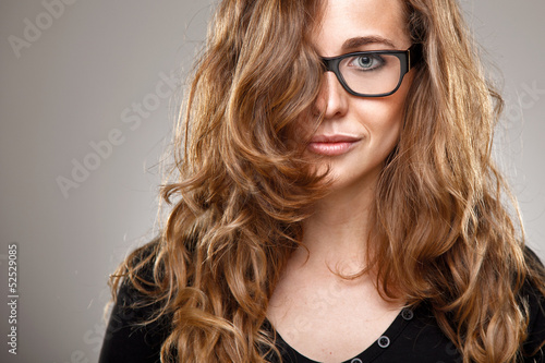 Close up of a normal girl with healthy hair