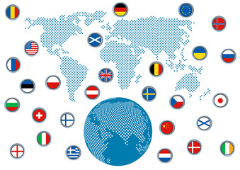 world map with flags, vector background