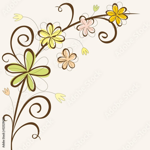Floral frame. Birthday card template.