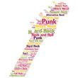 Electro Guitar Detail Rock Music Concept Vector Word Cloud