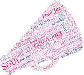 Megaphone Shaped Jazz Music Concept Vector Word Cloud