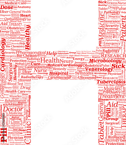 Vector Word Cloud with the shape of Hospital Sign