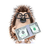 Cute hedgehog with dollars to spend poster