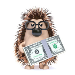 Cute hedgehog with dollars to spend