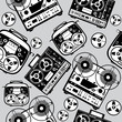 vector seamless reel tape recorder pattern