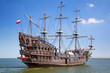 Leinwanddruck Bild - Pirate galleon ship on the water of Baltic Sea in Gdynia, Poland