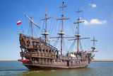 Fototapety Pirate galleon ship on the water of Baltic Sea in Gdynia, Poland