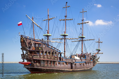 Pirate galleon ship on the water of Baltic Sea in Gdynia, Poland - 52530842