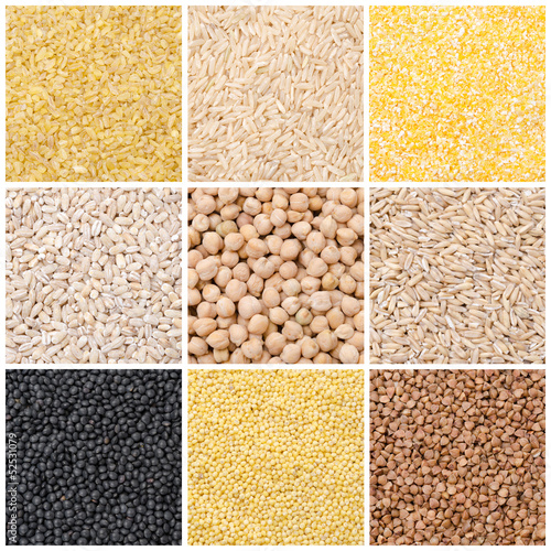 collage of nine kinds of cereals and legumes
