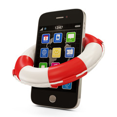 Smartphone with Red Lifebelt on white background
