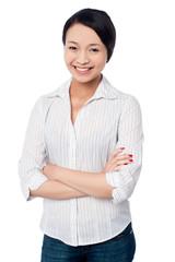 Attractive asian girl posing confidently