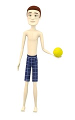 3d render of cartoon character with tennis ball