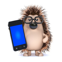 Cute hedgehog with a smartphone