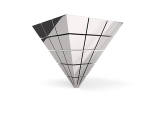 Upside-down silver pyramid