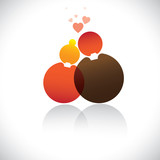 Boyfriend & girlfriend(romeo, juliet) icon(symbol)-vector graphi poster