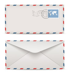 Postage envelopes with stamps