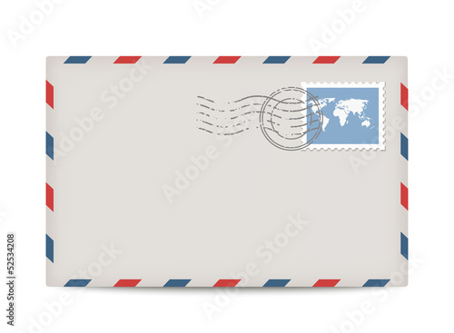 Vector postage envelope with stamp