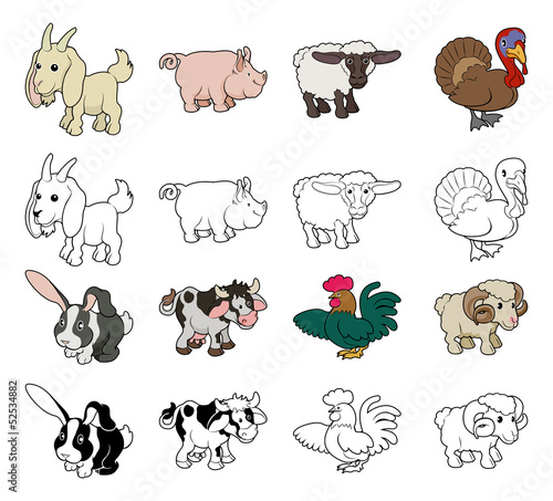 Cartoon Farm Animal Illustrations