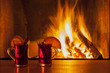 canvas print picture - drinks at cozy fireplace