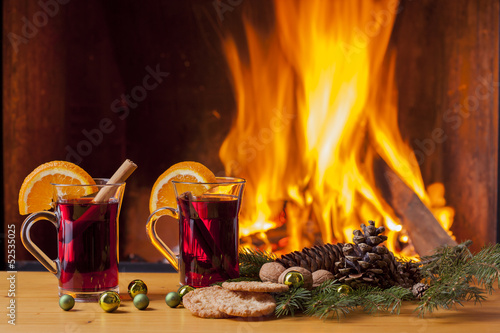 drinks at cozy fireplace