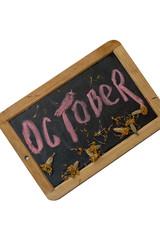 деревянная дощечка с надписью октябрь